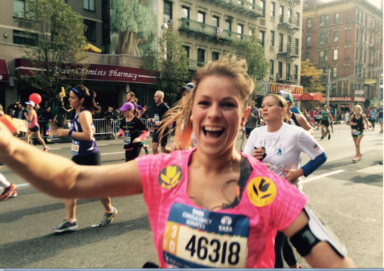 Oestergirl Cecile Mestrini  van Oestercompagnie finished in marathon van New York