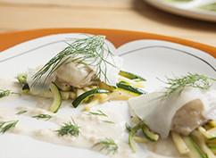 Ravioli van oesters en witvis