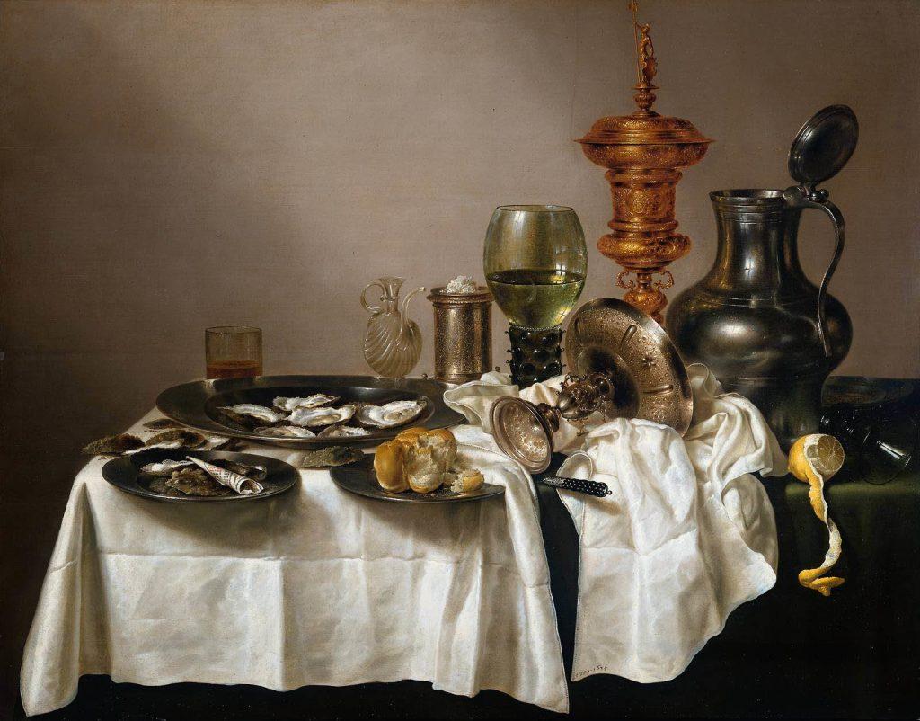Tafel met oesters en wijn
