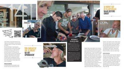 Collage met foto's van Oesterproeverij en iemand die een oesters opeet